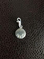 Sterling Silver Charm Round Hope With Sterling Hanger
