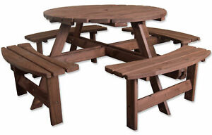 Woodside 8 Seater Round Outdoor Pressure Treated Pub Bench/Garden Picnic Table