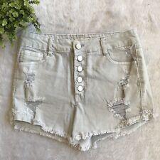 Refuge Womens Light Wash High Wasited Denim Distressed Cutoff Shorts Size 8