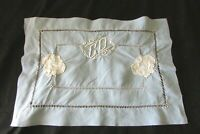 Antique French 1920's Petite Child's Fil de Lin Nursery Cushion Cover Mono CD
