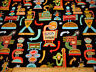 Cotton Fabric By The Yard Vntg Diners on Black Elizabeths Studio Quilting #C #P