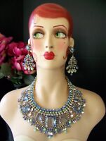 Stunning CZECH Juliana Style Runway Pale Blue Rhinestone Bib & Earring Set
