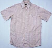 Lacoste Cotton S/S Button Shirt - Medium Size M - White & Red Check - Mens