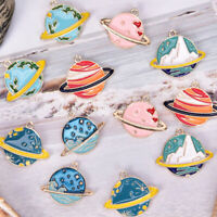 10Pcs/Set Enamel Planet Charms Pendant Jewelry Findings DIY Craft Making Gift US