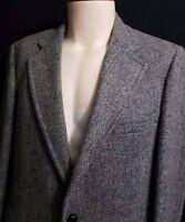 Handwoven in Scotland Harris Tweed Herringbone Plaid Wool Small Blazer Jacket 40