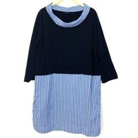 COS Womens Size Medium Sweater Shirt Dress Pinstriped Tunic Collared Navy Blue