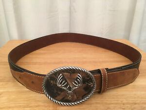 Nocona Men's Dark Camo Leather w/ Deer Skull Buckle Western Hunting Belt, Sz. 38