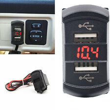 Waterproof Jack Push Switch Style Car LED Digital Voltmeter 2-USB Socket Charger