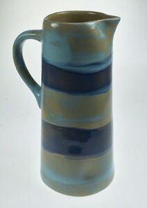 Small Handled Striped Blue Brown Beige Jug Pitcher Vase Ceramic Pottery