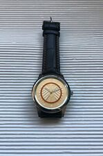 Uhr Armbanduhr Polymerring 5 € Münze Optik Lederarmband Quartz Uhrwerk NEU