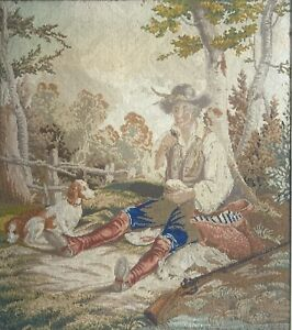 Antique Needlepoint of a Man and His Hunting Dogs ~ framed