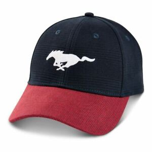 Mustang Running Horse Blue & Red Corduroy Hat * Cool Cap Ships FREE to the USA!