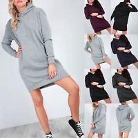 Ladies Womens Fleece Hooded Pullover Long Sleeves Sweatshirt Jumper Mini Dress