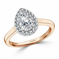 1.30 Ct Pear Cut Solitaire Diamond Engagement Ring 14K Real Rose Gold Size M N
