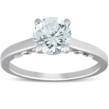 F/VS 1.52 ct Diamond Engagement Solitaire Vintage Ring 14k White Gold Size 7