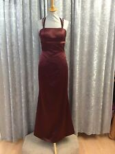 BRIDESMAID DRESS -CLARET DUCHESS SATIN  DRESS - FITTED WITH HALTER STRAP SIZE 10