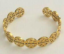 Tory Burch Frozen Logo Cuff Bracelet Goldtone Womans & TB Pouch Free Shipping