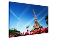 CANVAS WALL ART PRINTS EIFFEL TOWER PARIS BLUE SKY FLOWERS / PHOTO PRINT PICTURE