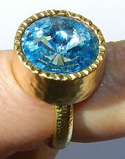 Yellow Gold 24K Plated Round Ring With Sparkl Blue Swarovski Crystal Size 8