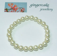 LOVELY IVORY WHITE GLASS PEARL BRACELET ELASTICATED 8MM BEADS