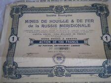 Vintage share certificate Stocks Bonds Mines houille 1 fer russie meridionale