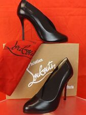 NIB LOUBOUTIN TOOT COUVERTE 100  BLACK ELASTICIZED LEATHER BOOTIES  PUMPS 39.5