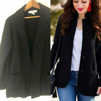 Magaschoni Knit Blazer Medium Jacket Sweater Black 12 14 Open Front Career cc