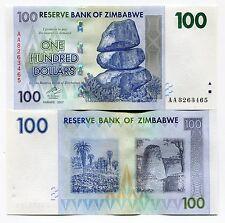 Zimbabwe 2007 100 Dollars Money Banknote UNC P69