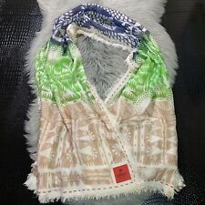Erfurt Luxury Accessories Scarf Denmark 100% Silk Multicolor Print Beige Nice!