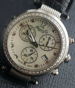 Kenneth Cole Chronograph Swiss Mother Of Pearl Date,Diamond Dial Bezel,WBand&Box