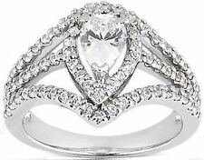 2.01 ct total 1.2 ct PEAR shape DIAMOND F SI2 Halo Engagement 14k WhiteGold Ring