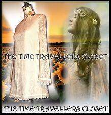 TOPSHOP IVORY CREAM VINTAGE LACE DRESS MINI SHIFT BELL SLEEVES 60s WEDDING UK 8