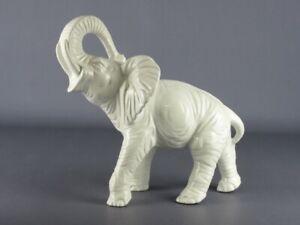 Vintage Statue Decorative Ceramics White Figure Elephant End Xx Century