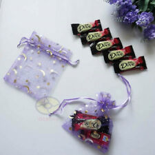 """100Pcs Purple with Gold Moons Stars4.75""""x3.5"""" Organza Pouches Wedding Favor Bags"""