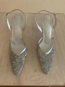 Rene Mancini Silver Sparkle Heels - Size 7