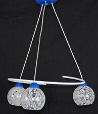 Lampadario sospensione moderno contemporaneo 3 luci BLU art.243 fatto a mano