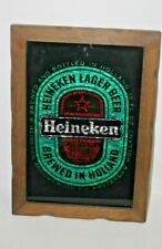 """Heineken Beer Sign Mirror -Silver, Red and Green reflective, Wood Framed 14x21"""""""