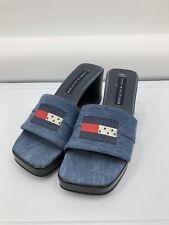 New listing Vintage Tommy Hilfiger Shoes Sz 9 Blue Denim Slides Wedge Square Toe 90's Flag