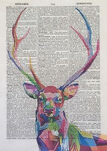 Stag Deer Print Vintage Dictionary Wall Art Picture Colourful Animal Geometric