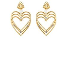 Balenciaga Gold Tone Pearl & Crystal Embellished Heart Clip Earrings