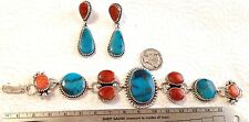 Turquoise Coral Sterling silver link bracelet & earrings set TByrd Navajo AJoe