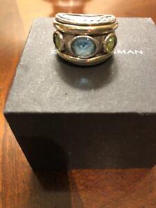 David Yurman Peridot And Blue Topaz Renaissance Ring Size 7