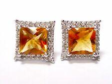 1.99 TCW Princess Citrine Quartz & Diamond Accents Stud Earrings 14k White Gold