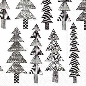 Marimekko KUUSIKOSSA black fir trees Christmas paper lunch napkins 3 ply 33cm sq