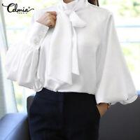 Autumn Women Loose Button Satin Blouse Bow Tie Office Work Top T Shirt Size 8-26