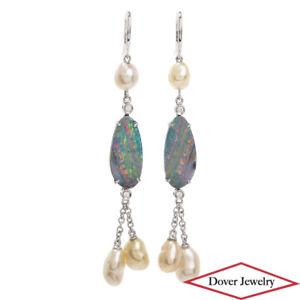 Diamond 5.27cts Boulder Opal Pearl 18K Gold Dangle Drop Earrings 5.6 Gr NR