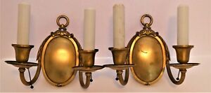 ⭐ Early Pair Of Wall Lights In Gold Finish. Simple Yet Elegant. Pull Chains.