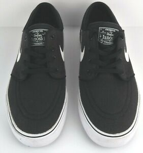 Nike SB Stefan Janoski Canvas Skating Shoe Black Embroidered Swish Size 4.5