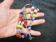 Vintage Silver Tone Colorful Art Glass Bead Toggle Clasp Necklace