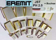 Li Ion LiPo Lithium Akku Batterie 1S JST-PH 2.0 Stecker arduino gps BMS EREMIT